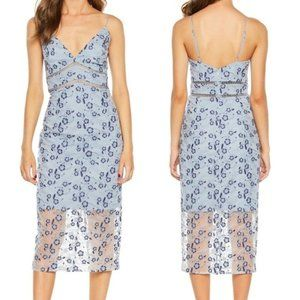 Dusty Blue Floral Sapphire Lace Midi Dress
